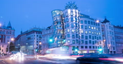Evening traffic near the Dancing House in Prague Time Lapse Stock Footage