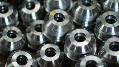 Closeup metal workpiece. Metal parts closeup. Metallic details Stock Footage