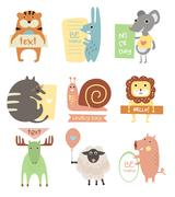 Stock Illustration of Cute Animals with Ribbons and Boards for Text. Vector Flat Illustration