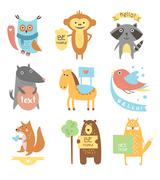 Cute Animals, Birds with Ribbons and Boards for Text - stock illustration