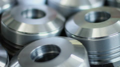 Set of shiny pieces of iron in the industrial warehouse Stock Footage