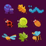 Stock Illustration of Cute Insects and Leaves with Emotions. Vector Illustration