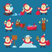 Santa, Deer. Christmas and New Year - stock illustration