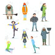 People in Winter. Winter Activities. Vector Illustration - stock illustration