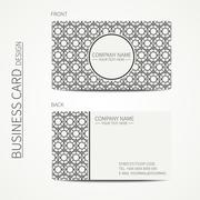 Geometric lattice monochrome business card template for your design. Arabic Piirros