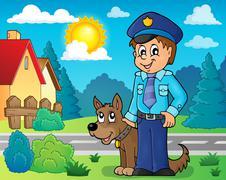 Policeman with guard dog image - eps10 vector illustration. Stock Illustration