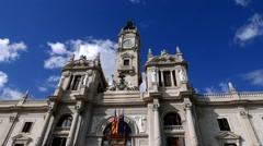 Close Up Time Lapse of the Valencia City Building in Valencia, Spain Stock Footage