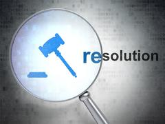 Stock Illustration of Law concept: Gavel and Resolution with optical glass