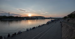 The waterfront of Vltava River at sunset, Prague Time Lapse Stock Footage