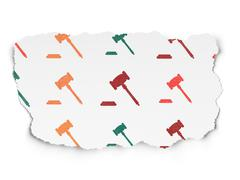 Stock Illustration of Law concept: Gavel icons on Torn Paper background