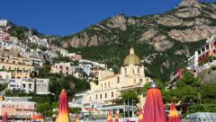 Positano Amalfitana panorama beach view Stock Footage