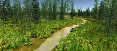 The narrow river surrounded by green trees in spring Stock Illustration