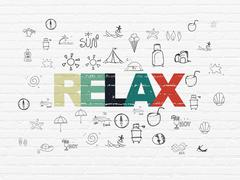 Stock Illustration of Vacation concept: Relax on wall background