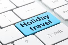 Tourism concept: Holiday Travel on computer keyboard background - stock illustration