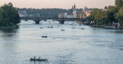Evening time lapse of Vltava River with many small boats Stock Footage