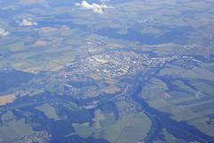 View from the plane on suburb of Prague - stock photo