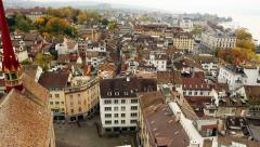 Zurich top city view Stock Footage
