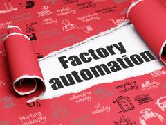 Industry concept: black text Factory Automation under the piece of  torn paper - stock illustration