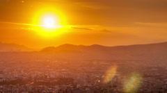 Beautiful sunset city panorama - stock footage