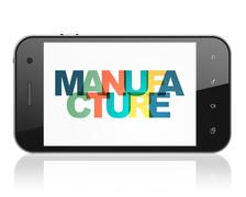 Manufacuring concept: Smartphone with Manufacture on  display Stock Illustration