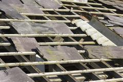 Derelict slate roof Stock Photos