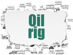 Manufacuring concept: Oil Rig on Torn Paper background Stock Illustration