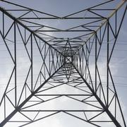 Electricity Pylon low angle Stock Photos