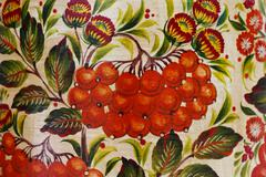beautiful floral pattern painted paint , close-up - stock photo