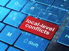 Political concept: Local-level Conflicts on computer keyboard background - stock illustration