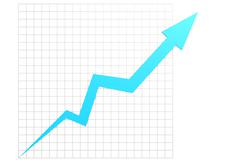 Blue graph in chart table - stock illustration