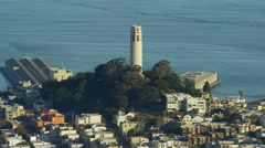 Aerial view San Francisco California USA Coit Tower Telegraph Hill Stock Footage
