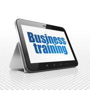Learning concept: Tablet Computer with Business Training on display Stock Illustration