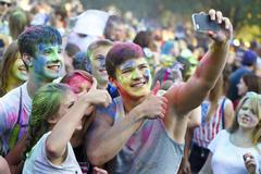 Colorful celebration , The festival of colors Holi - stock photo