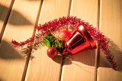 christmas decoration on wood floor - stock photo