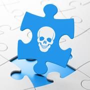 Healthcare concept: Scull on puzzle background - stock illustration