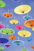Colourful umbrellas suspended in the air at the umbrella festival in Bo Sang Stock Photos
