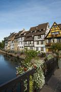 Timbered houses and canal Little Venice Petite Venice Colmar Alsace France Stock Photos