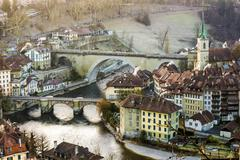 View of the historic centre with Aare river Bern Canton of Bern Switzerland - stock photo