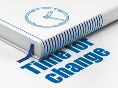 Timeline concept: book Clock, Time for Change on white background - stock illustration