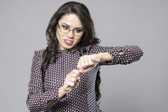 Angry young businesswoman broke her pencil Stock Photos