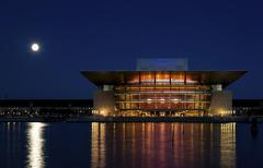 Copenhagen Opera House Operaen at night with the full moon Copenhagen Capital Stock Photos