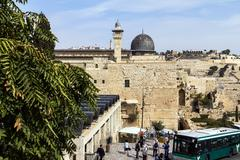 Stock Photo of Al Aqsa Mosque, the third holiest site in Islam, with Mount of Olives