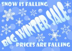 Big winter sale billboard, snow is falling, prices are falling. Background wi Piirros