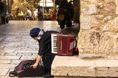 Woman musician accordion. Jerusalem. Israel Stock Photos