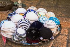 Jewish religious caps (yarmulke) on the market in Jerusalem, Israel Kuvituskuvat