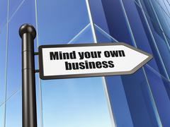 Business concept: sign Mind Your own Business on Building background Piirros