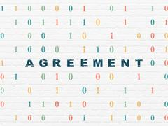 Business concept: Agreement on wall background - stock illustration