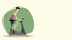 2d animation of A Man exercising on a ergometer bike Stock Footage