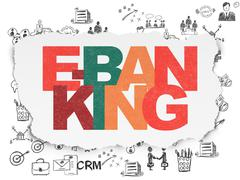 Business concept: E-Banking on Torn Paper background Piirros
