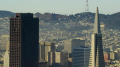 Aerial view San Francisco USA Metropolis Transamerica Pyramid - stock footage